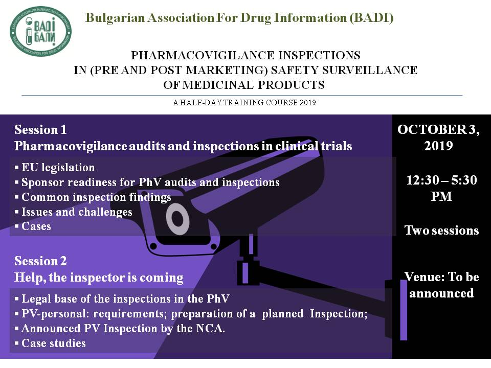NEW TRAINING COURSE -  PhV INSPECTIONS  IN (PRE AND POST MARKETING) SAFETY SURVEILLANCE  OF MEDICINAL PRODUCTS